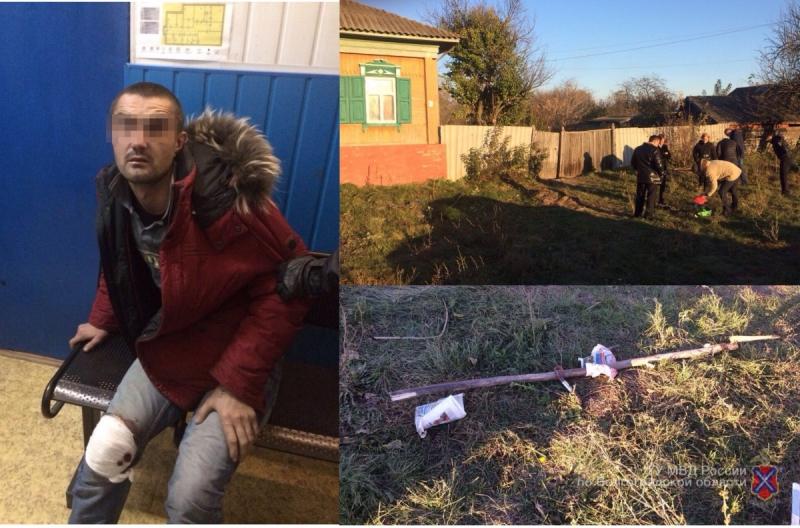 ВВолгоградской области полицейские подстрелили дебошира скосой и тесаком